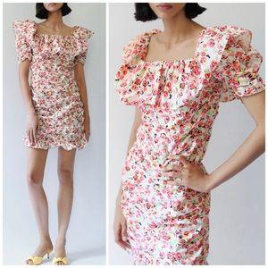 NEW Zara Floral Ruffled Hem Ruched Mini Dress